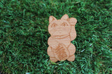Lucky Kitty Brooch. Etched Bamboo Brooch. I love cats. Cat Brooch. Crazy Cat Lady. Life's too short to wear boring Jewellery.