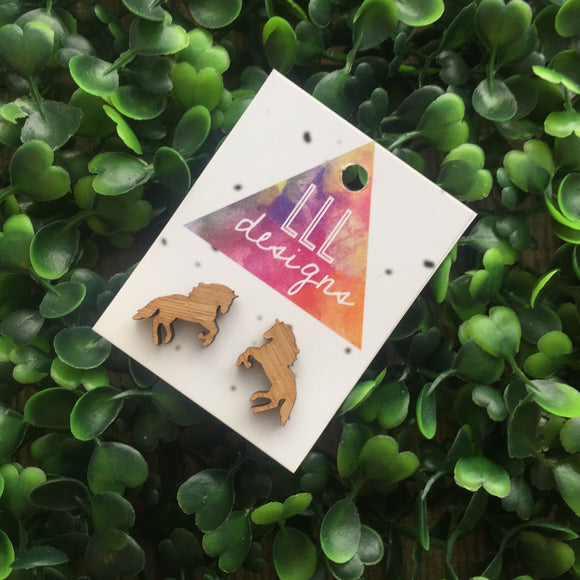 Galloping Bamboo Horse Stud Earrings. Laser Cut Bamboo Horse Earrings. Horse Love. Life's too short to wear boring Jewellery.