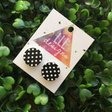 Black with White Polka Dot Printed Timber Studs/Earrings. Monochrome Studs. Monochrome Earrings. Surgical Stainless Steel Earrings - Studs.