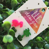Flipping Fancy Flamingo Mix Match Earrings. Glorious Glitter Green Palm Tree Earrings. Totes Tropical Earrings. Mix it up!