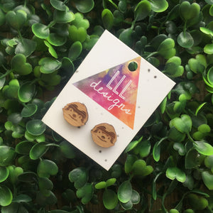 Super Cute Little Sloth Face Stud Earrings. Sloth Earrings. Quirky Bamboo Earrings. Liven up your lobes!