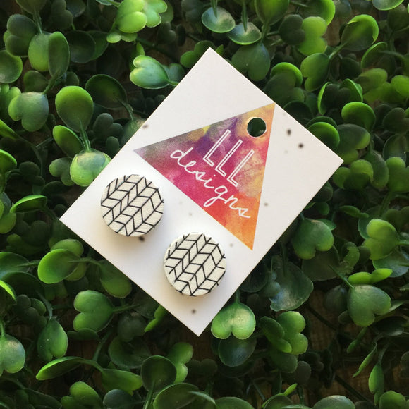 Black & White Monochrome Printed Studs/Earrings. Geometric Studs. Geometric Earrings. Geo Love. Handmade in Canberra, Australia. On trend.