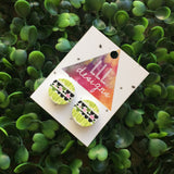 Printed Timber Stud Earrings. (Grn Scallops) Life's too short too wear boring Jewellery. Quirky and fun earrings. Australian Business.