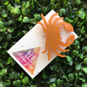 Crazy Crab Brooch. Crab Badge. Quirky Brooch. Handmade Badge. Handmade Brooch. Life's too short to wear boring Jewellery. Live Laugh Love.