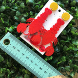 Living Large Lobster Statement Dangles - MEGA Size!!! Glorious Glitter Drop Earrings. Bold & Quirky Earrings.