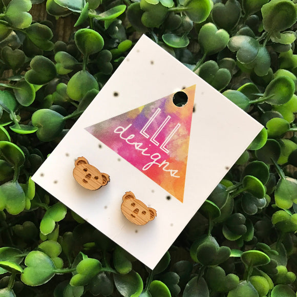Bamboo Australian Koala Handmade Stud Earrings. Koala Face Earrings. Aussie Animal Earrings. Life's too short to wear boring Jewellery!!!!