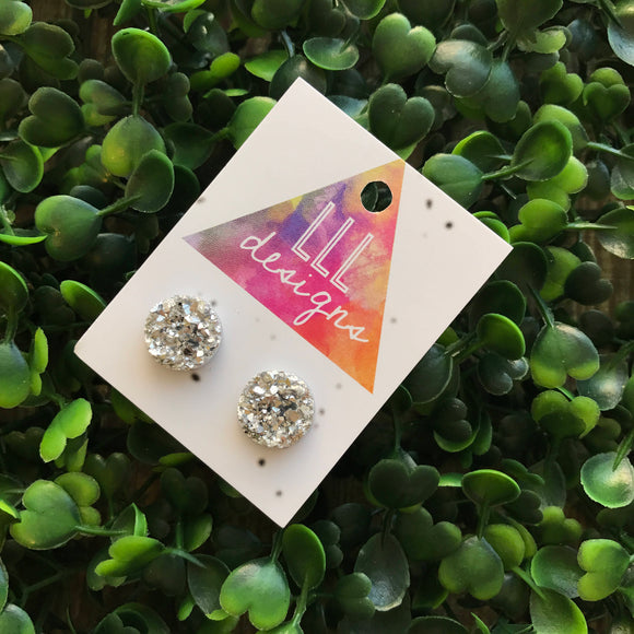 Bright Silver Druzy Style Stud Earrings. Fun and Fabulous Silver Handmade Earrings. Sparkle and Shine in these Babies. Be Bold - Be YOU!!!!