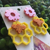 Honey Bee Spring Statement Dangle Earrings. Buzzy Bee - Honeycomb & Daisy Laser Cut Earrings. Bold and Fun Earrings. Gorgeous Glitter.