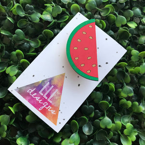 Hand Painted Bamboo Watermelon Brooch. Bitchin Badge. Life's too short to wear boring Jewellery. Handmade in Canberra, Australia. Quirky Fun