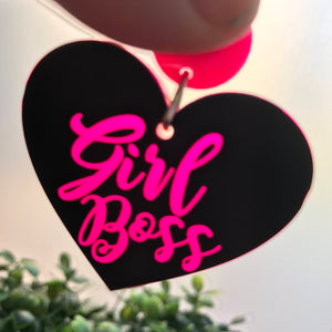 Girl Boss Fluro Pink Love Heart Statement Dangle Earrings. These Babies Glow like MAGIC! Because Life's too short to wear boring Jewellery!!