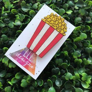 Hand Painted Movie Popcorn Bamboo Brooch. Carnival Brooch. Brooch Addict. Bitchin Brooch! ;) Quirky Brooch. Fun Brooch. Liven up your day!!!