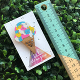 Rainbow Hand Painted IceCream Cone Bamboo Brooch. Rainbow IceCream Badge. The perfect little piece of fun at brighten up your outfit & day!!