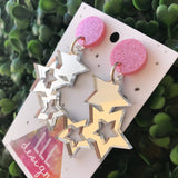 Sparkle Brightly in these Fabulous Silver Mirror Star Statement Dangle Earrings. Perfect for Day-time and Night-time Wear ;) Be a STAR!!!
