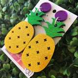 Mega Glitter Pineapple Statment Dangle Earrings! These layered acrylic beauties will get you noticed for all the right reasons ;) Be BOLD!!!