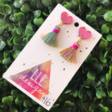 Petite Rainbow Perfection in Tassel Earrings Form ;) The Mirror Acrylic Tops are just the right amount of pop without being over the top.