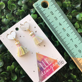 Petite Pastel Perfection in Tassel Earrings Form ;) The Mirror Acrylic Tops are just the right amount of pop without being over the top.