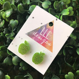 Groovy Green Glitter Apple Stud Earrings. An Apple a Day keeps the Dr away - imagine what 2 can do ;) I think I'll wear mine every day ....