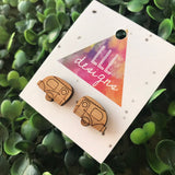 Itty Bitty Etched Bamboo Caravan Stud Earrings. These Retro Cuties will bring a smile to your dial and brighten everyone's day who see you!