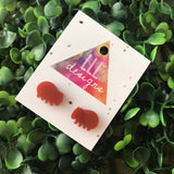 Wonderful Wally the Wombat Stud Earrings. A Super Cute little Aussie Local to add some whimsy to your day. Made from Copper Pearl Acrylic.