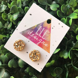 Bright Gold Faux Druzy Stud Earrings. These babes really are Devine. Their Colour and Design make them a wardrobe staple. Simple & Elegant.