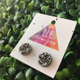 Grey Faux Druzy Stud Earrings. These babes really are Devine. Their Colour and Design make them a wardrobe staple. Simple & Elegant.