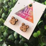 Etched Bamboo Mouse Stud Earrings. These little guys are such cute little characters. Super Lightweight, making them a dream to wear :)