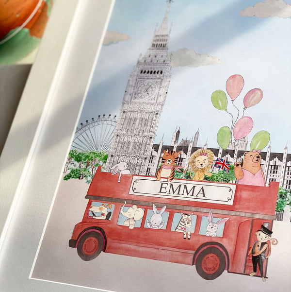 The animals and Big Ben for girls personalised