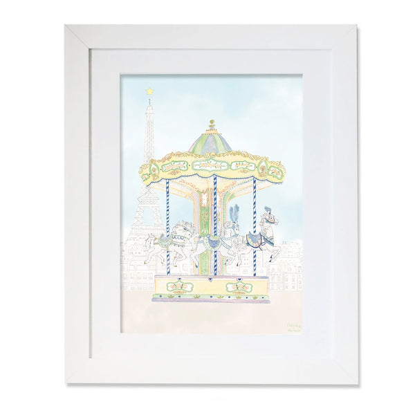 Personalised Carousel of The Trocadero Illustration for Boys