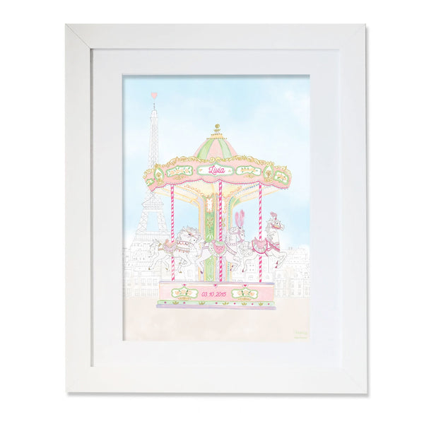 Personalised Carousel of The Trocadero Illustration for Girls