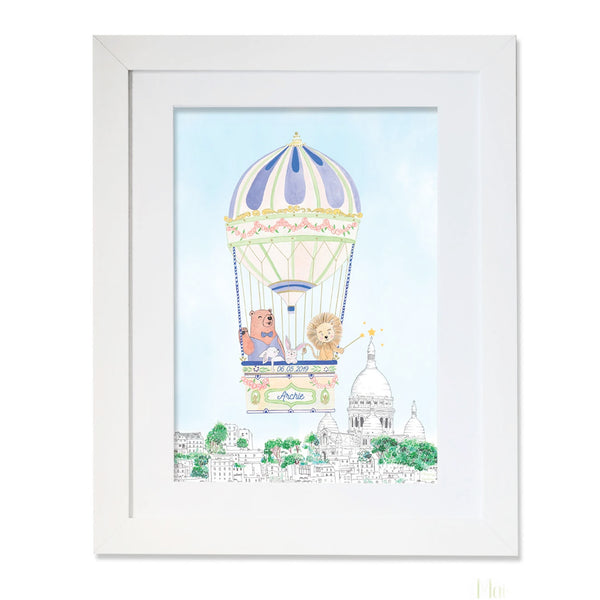Personalised Hot Air Balloon of Montmartre for Boys