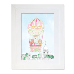 Personalised Hot Air Balloon of Montmartre for Girls