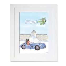 Personalised Sports Car Dog Driving by The Louvre Illustration
