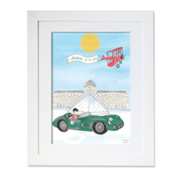 Personalised Sports Car Frenchman Driving by The Louvre Illustration