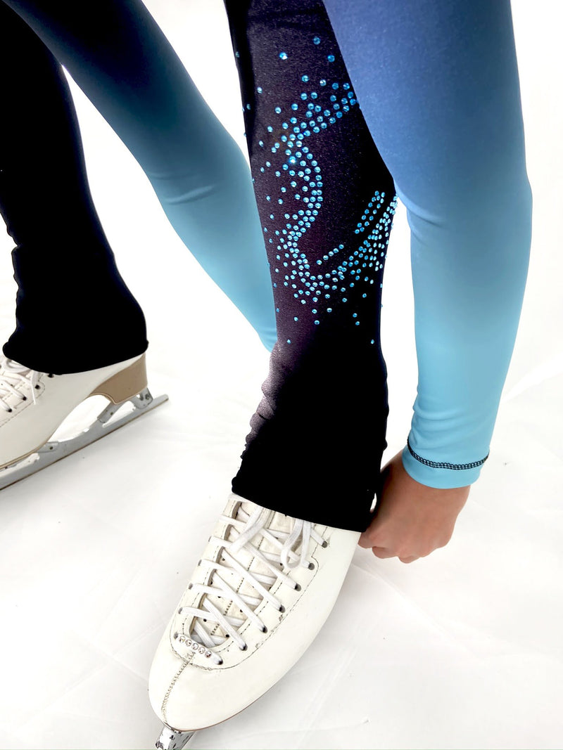 High Waist Pastel Sprinkle Skate Legging - Blue