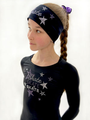 Black Skate Like a Star Headband - Purple