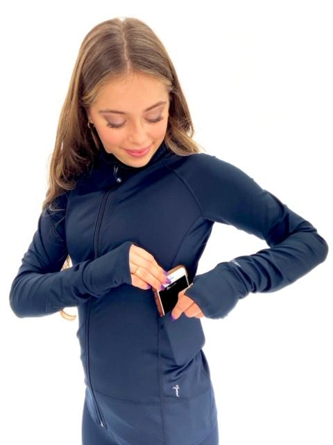 Black Tech Jacket with Thumb Slit