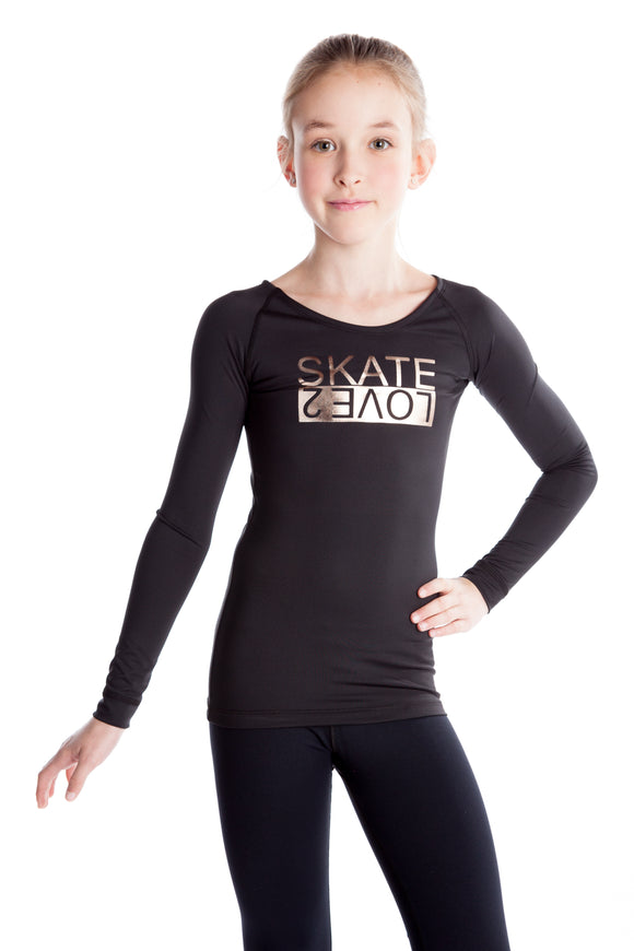 Love 2 Skate Black Print Top - Rose Gold - House of Skates