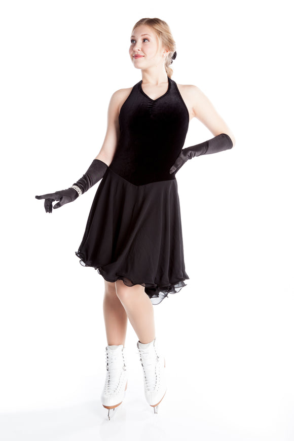 Basic Velvet Dance Dress - Black