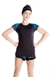 Black T-Shirt with Sublimated Sleeves - Blue Sparkle - House of Skates