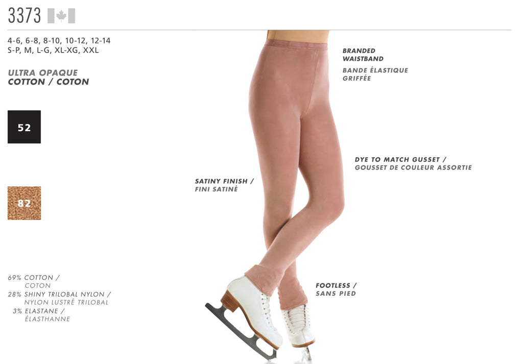 MONDOR - Footless Natural Satiny Tights (3373) - House of Skates