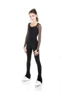One Piece in Supplex with Mesh Long Sleeves - Black - House of Skates