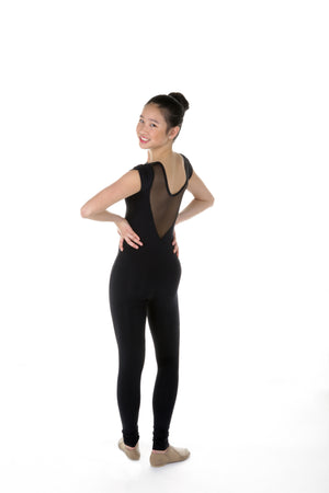 One Piece in Supplex with Sweetheart Neckline and Short Sleeves - Black - House of Skates