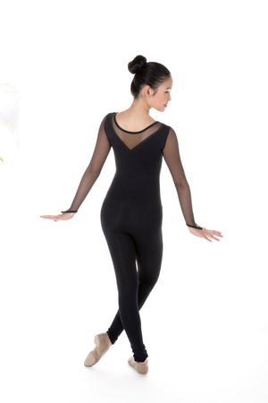 One Piece in Supplex with Mesh Long Sleeves -Black - House of Skates
