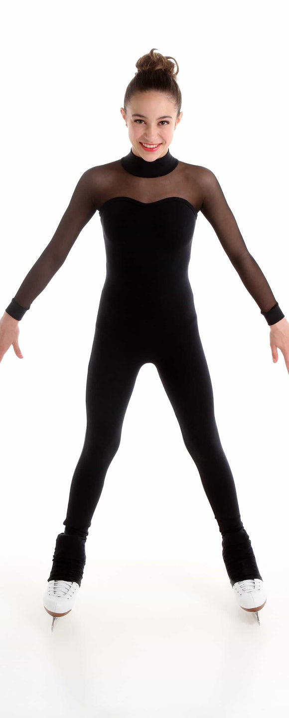 Black One piece with mesh sleeves