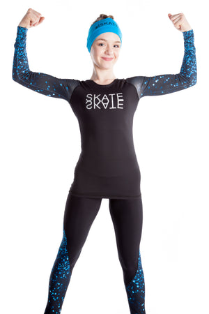 Black Shirt with Sublimated Sleeves - Blue Sparkle - House of Skates