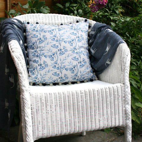 Blue Damask Cushion with Pom Pom Trim
