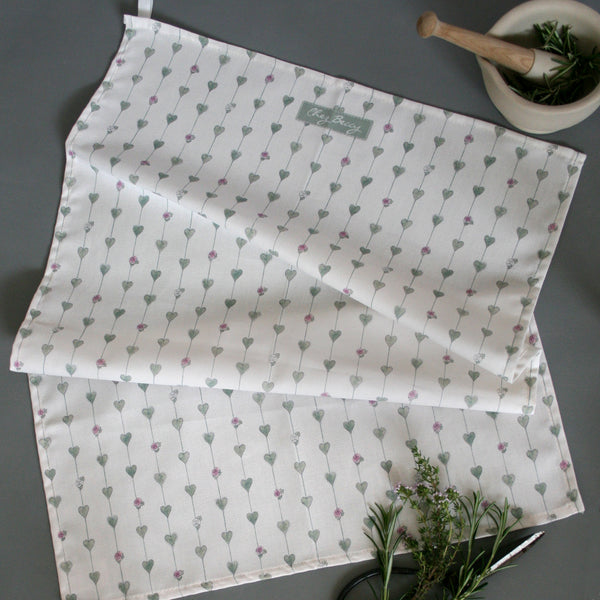 Sage Green Hearts & Roses Shabby Chic Tea Towel