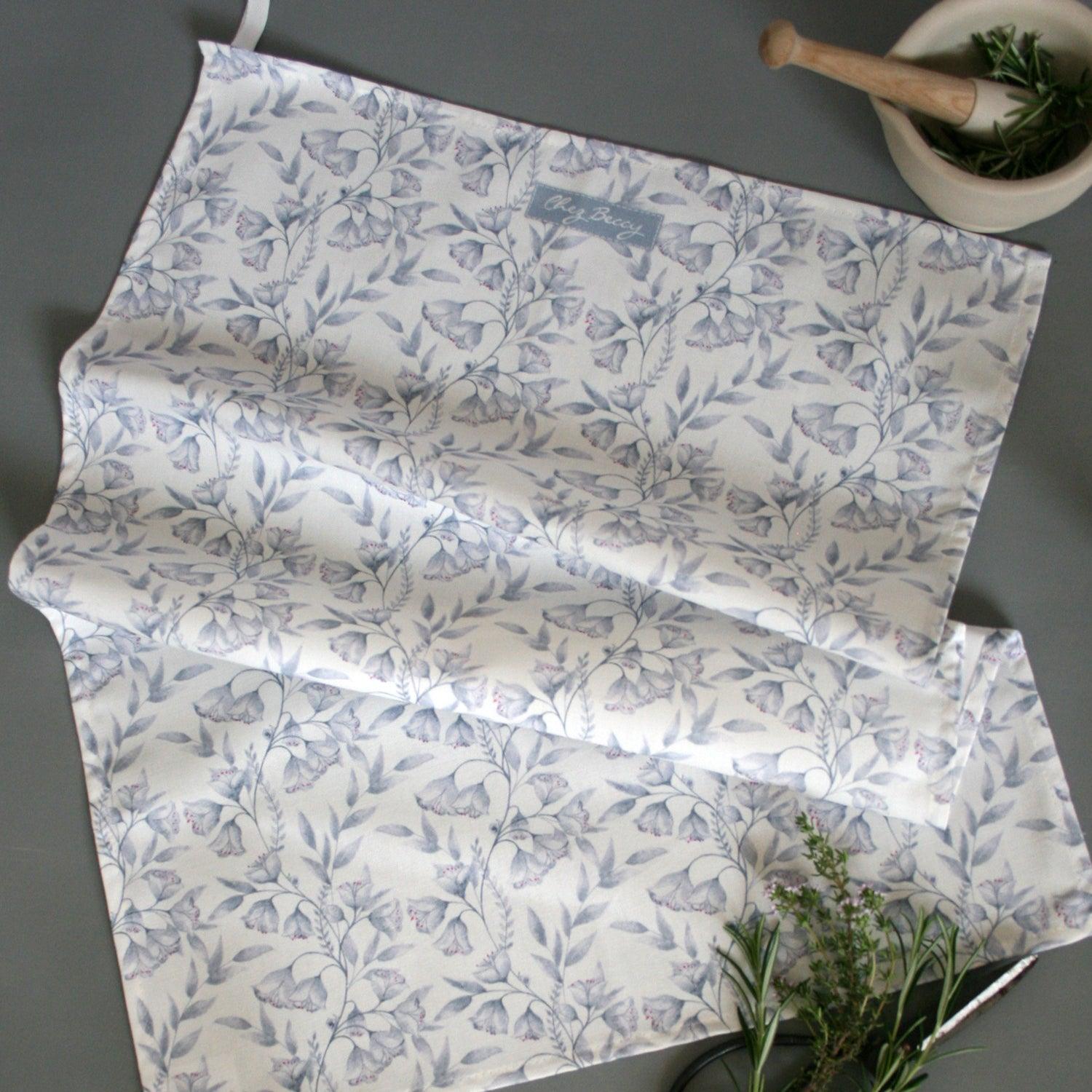 Grey and White Floral Damask Tea Towel