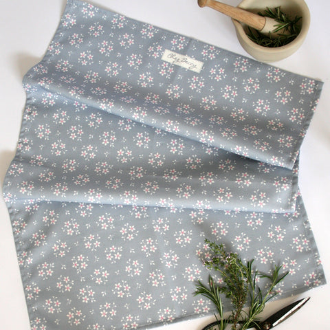 Grey & White Ditsy Floral Tea Towel