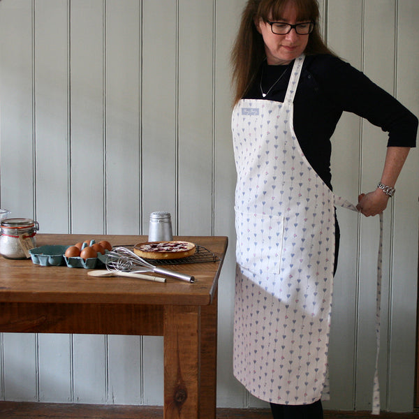 Grey and White Hearts & Roses Apron